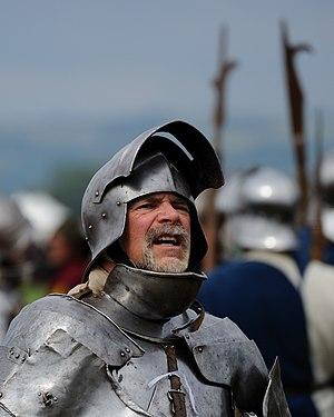 Helmet - A reenactor wearing a sallet