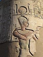 Bajorrelieve: en el templo de Kom Ombo en Egipto.