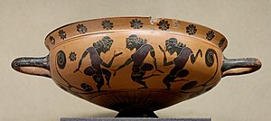 Komos - Komos revellry scene from a Komast cup by the KY Painter,  ca. 575 BC, Louvre (E 742)