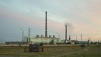 Ekibastuz - Flue gas stacks at CHP (TPP) power station in Ekibastuz
