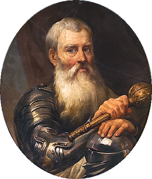 "Krzysztof Mikolaj ""Perkunas"" Radziwill (Voivode of Vilnius from 1584 to 1603). Due to his prominent victories during the Livonian War, he was nicknamed ""the Thunderbolt"" (Perkunas). Krzysztof Mikolaj ""the Thunderbolt"" Radziwill 1.PNG"