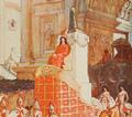 L'agonie (1902) Elagabalus conduisant un char a seize chevaux blancs, ou, sur un autel de pierreries, reposait le cone de pierre noire (cropped).png