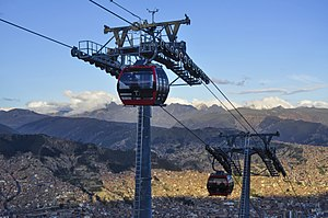 Gondola lift - The Mi Teleférico cable car system in La Paz, Bolivia, used for mass transportation purposes, is both the longest and highest urban cable car network in the world