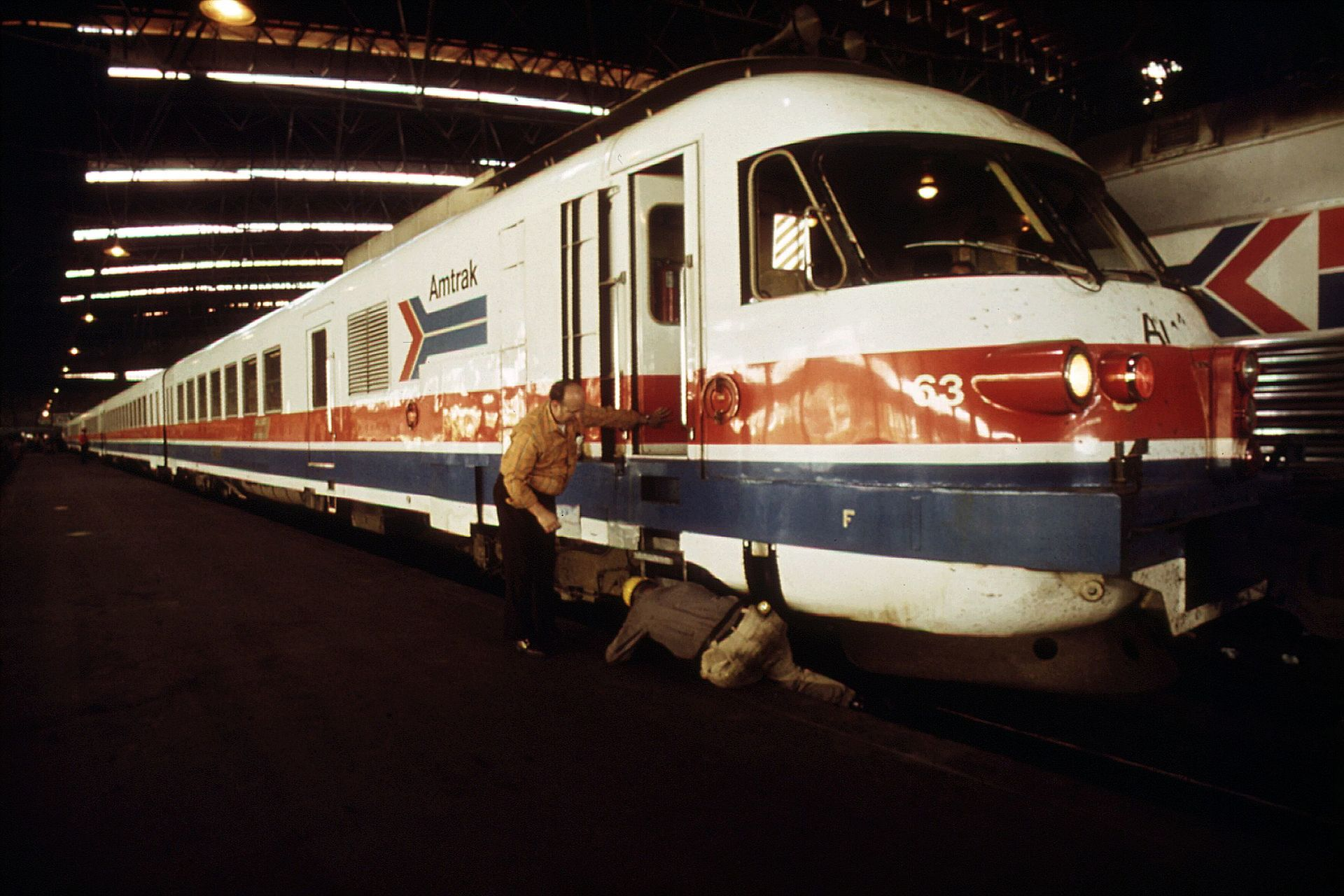 An RTG Turboliner at Union Station in St. Louis, Missouri in 1974
