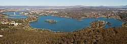 Panorama of Lake Burley Griffin from high elevation
