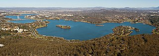 Lake Burley Griffin man-made lake in Canberra, Australia