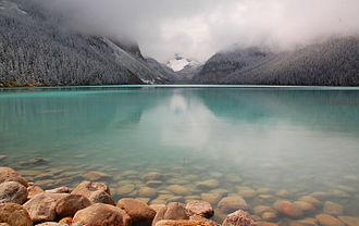 Lake Louise (Alberta) - Lake Louise from eastern shoreline, facing west.