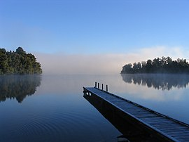Morning mist on Lake Mapourika.
