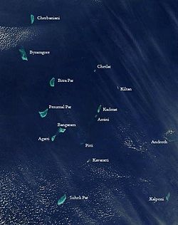 NASA Satellite shot of the Lakshadweep islands