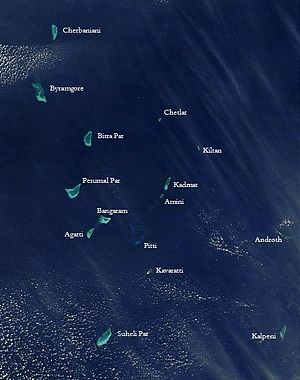 Lakshadweep - Satellite picture showing the atolls of the Lakshadweep except for Minicoy