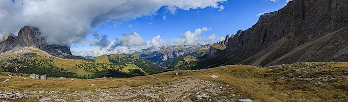 View from the Sella Pass on the Langkofel (left), the Puez Group, and the Sella group (right), South Tyrol