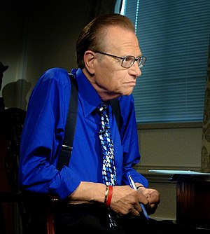 Larry King during a videotaping of his Larry K...