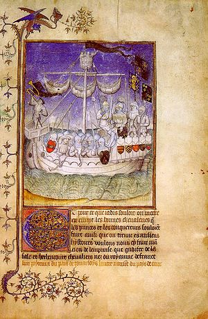 "Jean de Béthencourt - One of the ships departing for the 1402 Norman expedition (from ""Le Canarien"")."