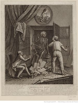 Armoire de fer - Skeleton of Mirabeau coming out of the armoire de fer