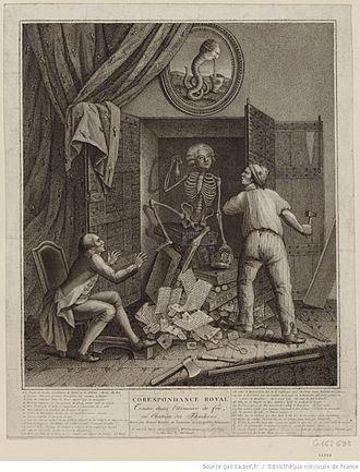 Armoire de fer - Skeleton of Mirabeau coming out of the armoire de fer