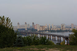 View on the Left Bank of Dnieper, with Darnytsia neighbourhoods seen on the right in the background