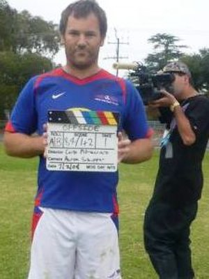 Anthony Lehmann - Lehmo holding the clapperboard during filming of the movie Offside