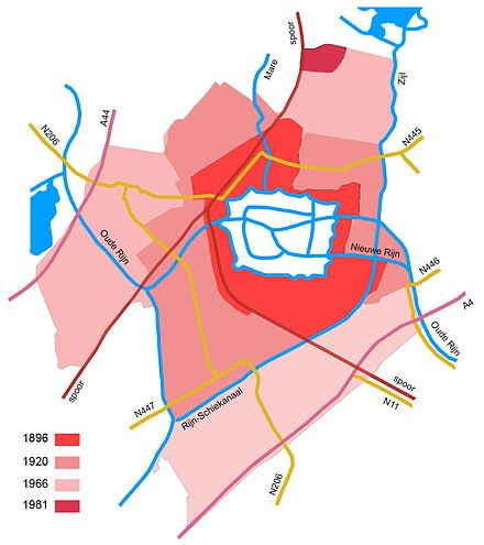 Leiden grew 12-fold in size between 1896 and 1981, annexing land from neighboring municipalities Leiden Annexaties.jpg