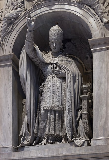 Monument to Leo XII in St. Peter's Basilica Leo XII statue de Fabris 1836 Saint Peter's Basilica Vatican City.jpg