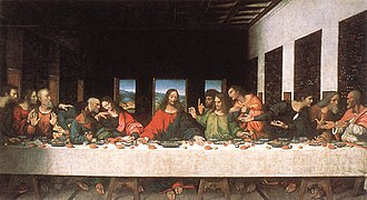The Last Supper (Leonardo da Vinci) - The Last Supper, ca. 1520, Andrea Solari, after Leonardo da Vinci, oil on canvas, in the Leonardo da Vinci Museum, Tongerlo Abbey.