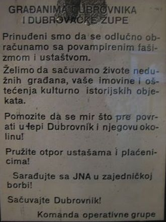 """Propaganda during the Yugoslav Wars - A Serb flyer used during the war, calling upon all citizens of Dubrovnik to cooperate with the JNA against the Croats' """"vampired fascism and Ustašism"""""""