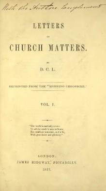 Letters on Church Matters Vol 1.djvu