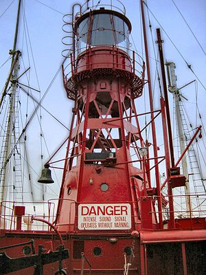 Lightvessel - Some lightships, like this one in Amsterdam, were also equipped with a foghorn for audible signals at foggy times.