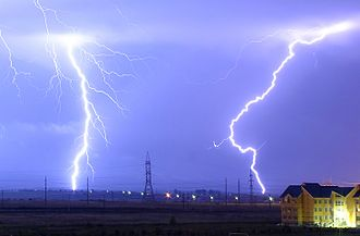 Energy - In a typical lightning strike, 500 megajoules of electric potential energy is converted into the same amount of energy in other forms, mostly light energy, sound energy and thermal energy.