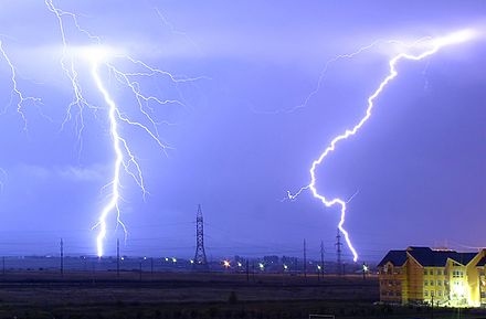 In a typical lightning strike, 500 megajoules of electric potential energy is converted into the same amount of energy in other forms, mostly light energy, sound energy and thermal energy. Lightning over Oradea Romania zoom.jpg
