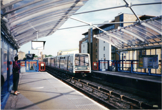 Limehouse station - A DLR train arrives at Limehouse, 2002