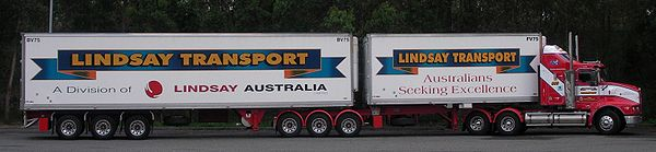 A B-double parked at a truck stop in New South Wales, Australia