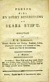 Lindskog, Försök till en korrt beskrifning om Skara stift, I Häftet (1812) titelblad.jpg