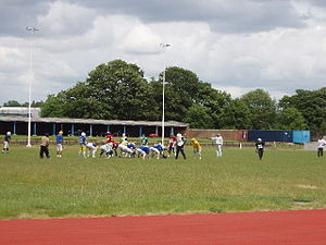 Linford Christie Stadium - Training for an American football team taking place at the stadium in 2005