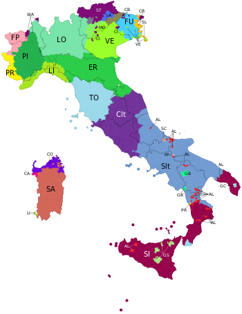 Linguistic map of Italy 2