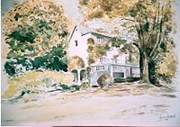 Linkebeek Les Roches villa de Lismonde aquarelle 1981 par LEON VAN DIEVOET (46cm x 61 cm).jpg