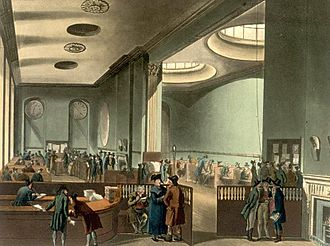 History of insurance - The subscription room at Lloyd's of London in the early 19th century.