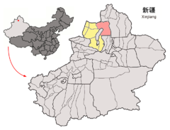 Location of Hoboksar within Xinjiang (China).png