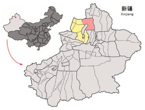 Hoboksar Mongol Autonomous County - Image: Location of Hoboksar within Xinjiang (China)
