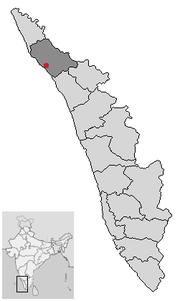 Location of Kannur Kerala