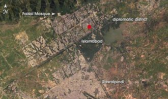 Lal Masjid, Islamabad - Location of Lal Masjid in Islamabad (marked with a red spot)