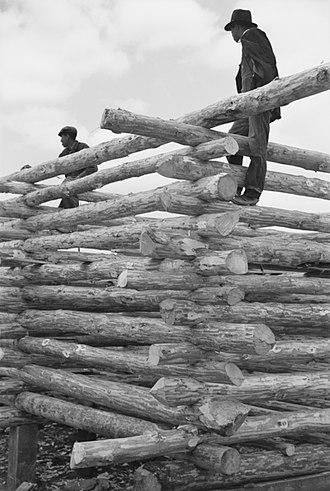 Walker Evans - Image: Log Construction Walker Evans photo LOC