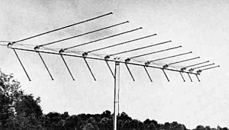 Log-periodic antenna - Image: Log periodic VHF TV antenna 1963