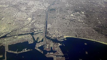 Downtown Long Beach, view from airplane to port an Los Angeles River upstream, northwards (2010) Long Beach California from Airplane looking North.jpg