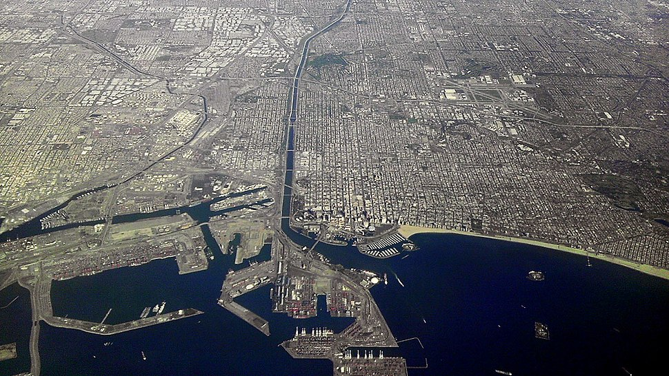 Long Beach California from Airplane looking North