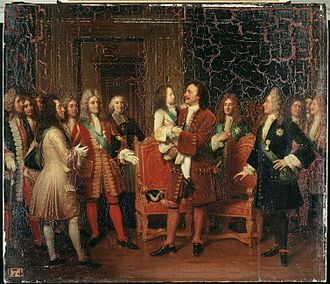 France–Russia relations - Russian Tsar Peter the Great visits the young King Louis XV of France in 1717
