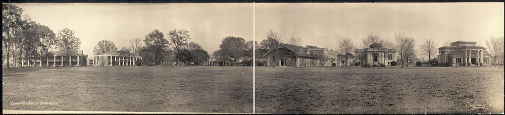 The Pentagon Barracks (left) in 1909 in a panorama of what was then the campus of Louisiana State University