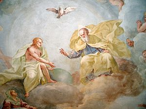 Trinity Sunday - Holy Trinity, fresco by Luca Rossetti da Orta, 1738-9 (St. Gaudenzio Church at Ivrea, Torino).