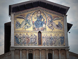 Basilica of San Frediano - Monumental golden mosaic on the façade.