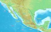Mapa físico de México, donde se señalan algunas de los accidentes y regiones más notables del país