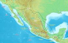 Mapa f�sico do M�xico, onde se nota alguns acidentes geol�gicos e regi�es not�veis do pa�s.